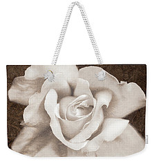 Weekender Tote Bag featuring the photograph Vintage Sepia Rose Flower by Jennie Marie Schell