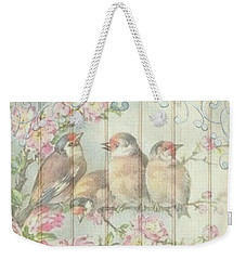 Vintage Shabby Chic Floral Faded Birds Design Weekender Tote Bag