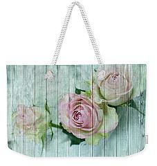 Vintage Shabby Chic Pink Roses On Wood Weekender Tote Bag