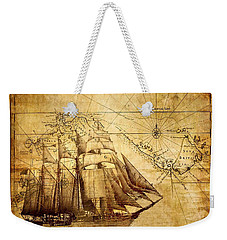 Weekender Tote Bag featuring the mixed media Vintage Ship Map by Lucia Sirna