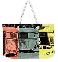 Weekender Tote Bag featuring the painting Sarasota Series Vintage Trailer Park Pop Art by Edward Fielding
