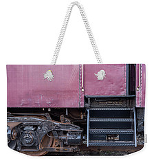 Weekender Tote Bag featuring the photograph Vintage Train Car Steps by Terry DeLuco