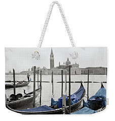Vintage Venice In Black, White, And Blue Weekender Tote Bag