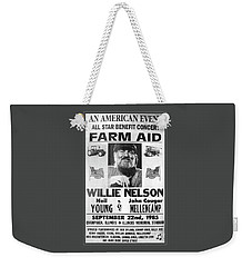 Vintage Willie Nelson 1985 Farm Aid Poster Grayscale Weekender Tote Bag