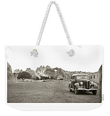 Weekender Tote Bag featuring the photograph Vintage Window Rock Agency by Marilyn Hunt