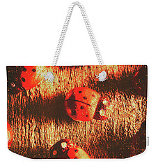 Vintage Wooden Ladybugs Weekender Tote Bag by Jorgo Photography - Wall Art Gallery