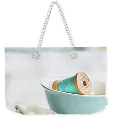Vintage Wooden Spools Of Thread In Vintage Tea Cup Weekender Tote Bag