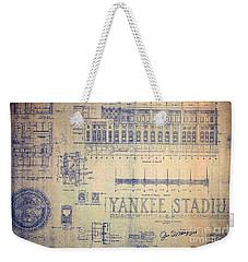 Vintage Yankee Stadium Blueprint Signed By Joe Dimaggio Weekender Tote Bag