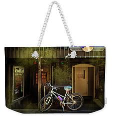 Weekender Tote Bag featuring the photograph Vinyl Club Bicycle by Craig J Satterlee
