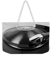 Weekender Tote Bag featuring the photograph Vinyl Lp And Turntable by Jim Hughes