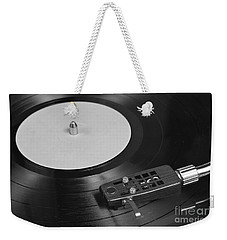 Vinyl Record Playing On A Turntable Overview Weekender Tote Bag