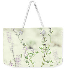 Violet And Green Bloom Weekender Tote Bag by Amyn Nasser