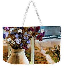 Violet Beach Flowers Weekender Tote Bag by Winsome Gunning