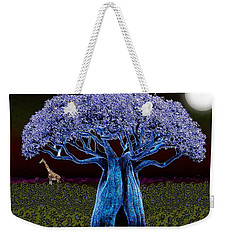 Weekender Tote Bag featuring the digital art Violet Blue Baobab by Iowan Stone-Flowers