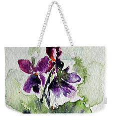 Weekender Tote Bag featuring the painting Violet Iv by Kovacs Anna Brigitta