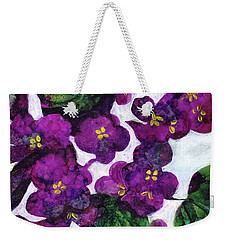 Weekender Tote Bag featuring the painting Violets by Julie Maas