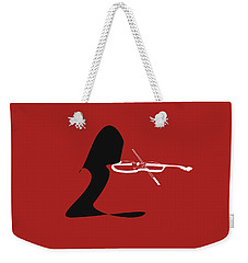 Weekender Tote Bag featuring the digital art Violin In Orange Red by Jazz DaBri