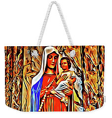 Weekender Tote Bag featuring the painting Virgin And Child by Joan Reese