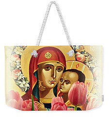 Virgin Mary And Tulips      Weekender Tote Bag by Sarah Loft