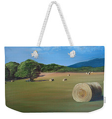 Weekender Tote Bag featuring the painting Virginia Hay Bales by Donna Tuten
