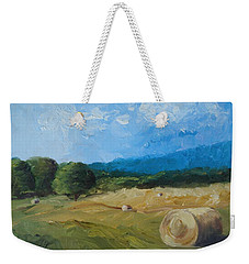 Weekender Tote Bag featuring the painting Virginia Hay Bales II by Donna Tuten
