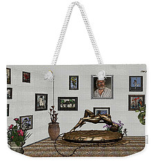Weekender Tote Bag featuring the mixed media Virtual Exhibition -statue Of Girl by Pemaro