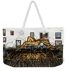 Weekender Tote Bag featuring the mixed media Virtual Exhibition With Birthday Cake by Pemaro