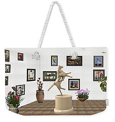Weekender Tote Bag featuring the mixed media Virtual Exhibition_statue Of A Horse by Pemaro