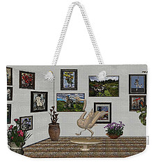 Weekender Tote Bag featuring the mixed media virtual exhibition_Statue of swan 23 by Pemaro