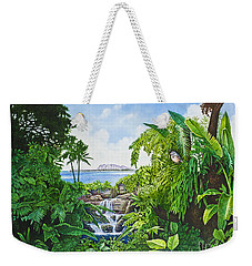 Weekender Tote Bag featuring the painting Visions Of Paradise Ix by Michael Frank
