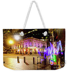 Weekender Tote Bag featuring the photograph Vivid Sydney Circular Quay By Kaye Menner by Kaye Menner