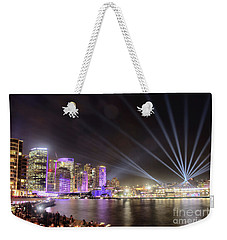 Weekender Tote Bag featuring the photograph Vivid Sydney Skyline By Kaye Menner by Kaye Menner