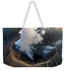 Weekender Tote Bag featuring the photograph Volcanic Crater From Above by Pradeep Raja Prints