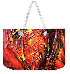 Weekender Tote Bag featuring the mixed media Volcanic Fire by Angela Stout