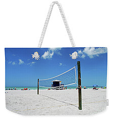 Weekender Tote Bag featuring the photograph Volley Ball On The Beach by Gary Wonning