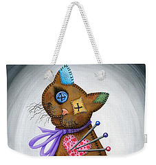 Weekender Tote Bag featuring the painting Voodoo Cat Doll - Patchwork Cat by Carrie Hawks