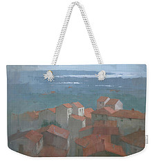Weekender Tote Bag featuring the painting Vrsar, Croatia by Steve Mitchell