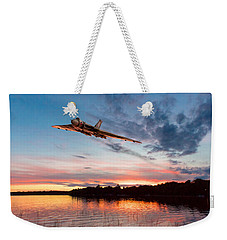 Weekender Tote Bag featuring the digital art Vulcan Low Over A Sunset Lake by Gary Eason