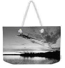Weekender Tote Bag featuring the digital art Vulcan Low Over A Sunset Lake Sunset Lake Bw by Gary Eason