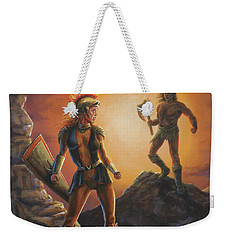 Weekender Tote Bag featuring the painting Vulcana  by Kim Lockman