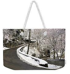 W Road In Winter Weekender Tote Bag
