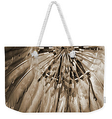 Weekender Tote Bag featuring the photograph Wacipi Dancer In Sepia by Heidi Hermes