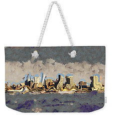 Weekender Tote Bag featuring the mixed media Wacky Philly Skyline by Trish Tritz