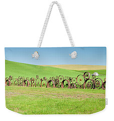 Wagon Wheels Stacked Palouse Washington Weekender Tote Bag by James Hammond