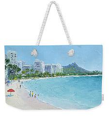 Waikiki Beach Honolulu Hawaii Weekender Tote Bag by Jan Matson