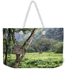Weekender Tote Bag featuring the photograph Waipio Valley Road Rules by Susan Rissi Tregoning