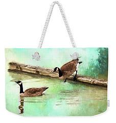 Weekender Tote Bag featuring the painting Wait For Me - Wildlife Art by Jordan Blackstone