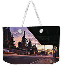 Weekender Tote Bag featuring the photograph Waitin' On The Bus by DJ Florek
