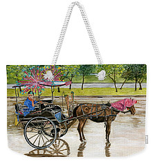 Weekender Tote Bag featuring the painting Waiting For Rider Jakarta Indonesia by Melly Terpening