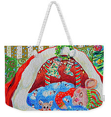 Weekender Tote Bag featuring the painting Waiting For Santa by Li Newton